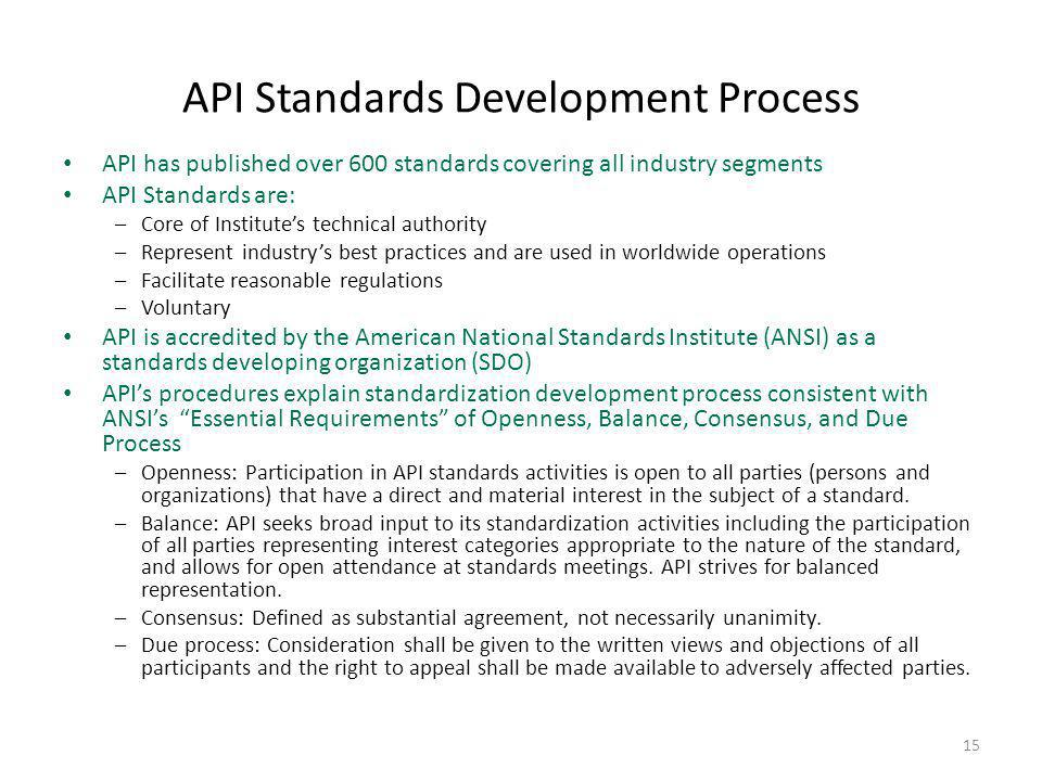 API Standards Development Process API has published over 600 standards covering all industry segments API Standards are: –Core of Institute's technica