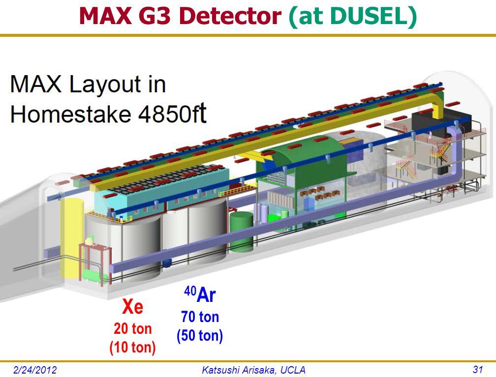 Katsushi Arisaka, UCLA 31 Xe 20 ton (10 ton) 40 Ar 70 ton (50 ton) 2/24/2012
