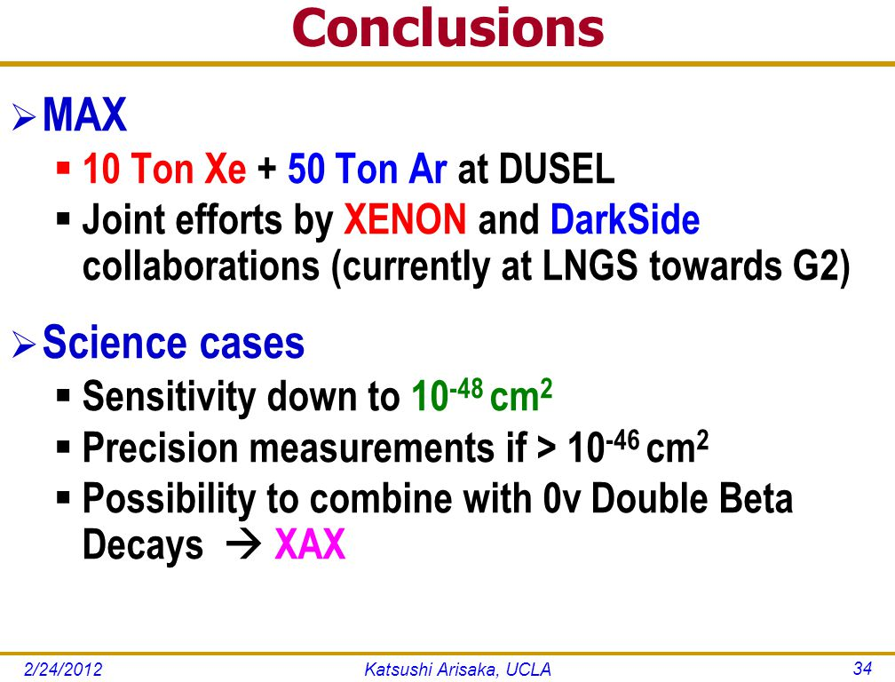 Conclusions  MAX  10 Ton Xe + 50 Ton Ar at DUSEL  Joint efforts by XENON and DarkSide collaborations (currently at LNGS towards G2)  Science cases