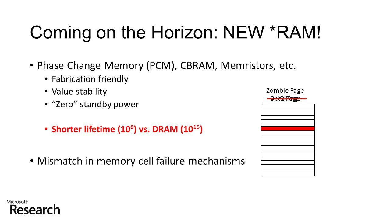 "Phase Change Memory (PCM), CBRAM, Memristors, etc. Fabrication friendly Value stability ""Zero"" standby power Shorter lifetime (10 8 ) vs. DRAM (10 15"