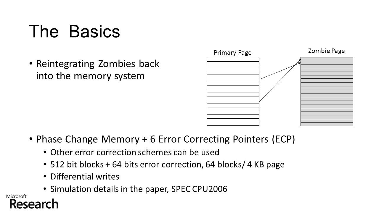 Reintegrating Zombies back into the memory system Phase Change Memory + 6 Error Correcting Pointers (ECP) Other error correction schemes can be used 5