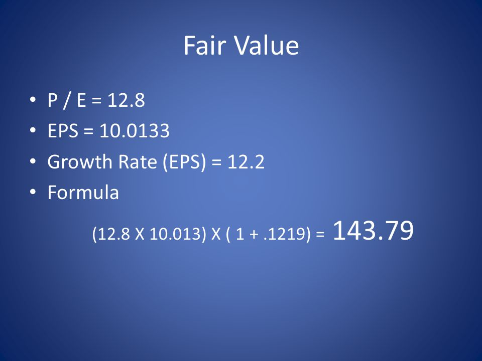 Fair Value P / E = 12.8 EPS = 10.0133 Growth Rate (EPS) = 12.2 Formula (12.8 X 10.013) X ( 1 +.1219) = 143.79