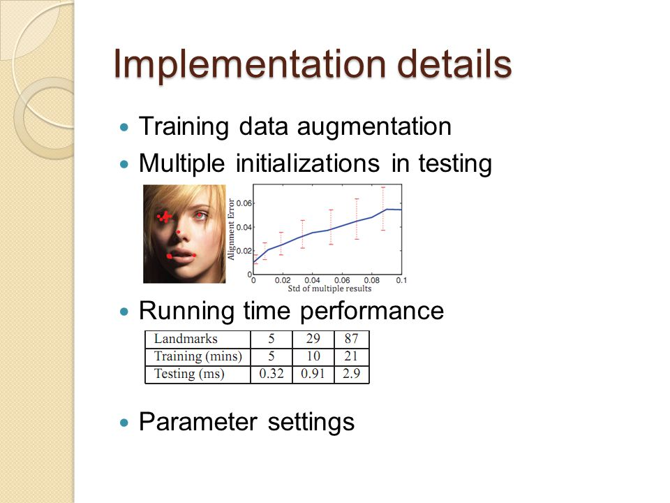 Implementation details Training data augmentation Multiple initializations in testing Running time performance Parameter settings