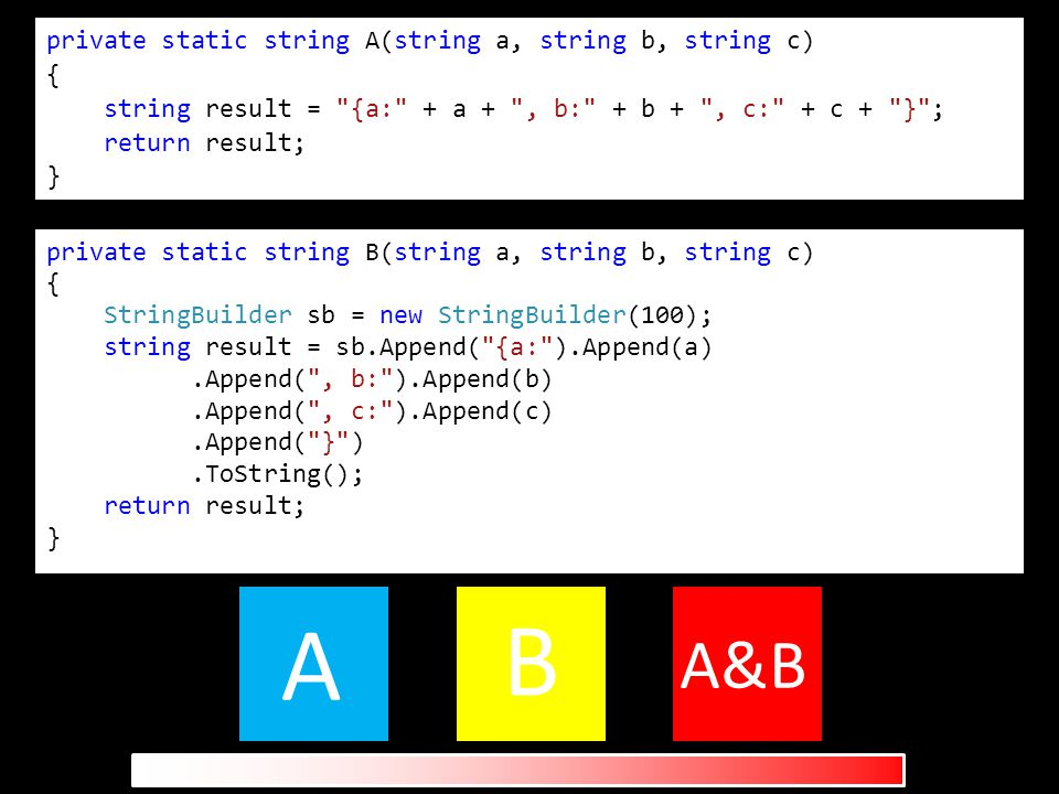 private static string A(string a, string b, string c) { string result = {a: + a + , b: + b + , c: + c + } ; return result; } private static string B(string a, string b, string c) { StringBuilder sb = new StringBuilder(100); string result = sb.Append( {a: ).Append(a).Append( , b: ).Append(b).Append( , c: ).Append(c).Append( } ).ToString(); return result; } A B A&B