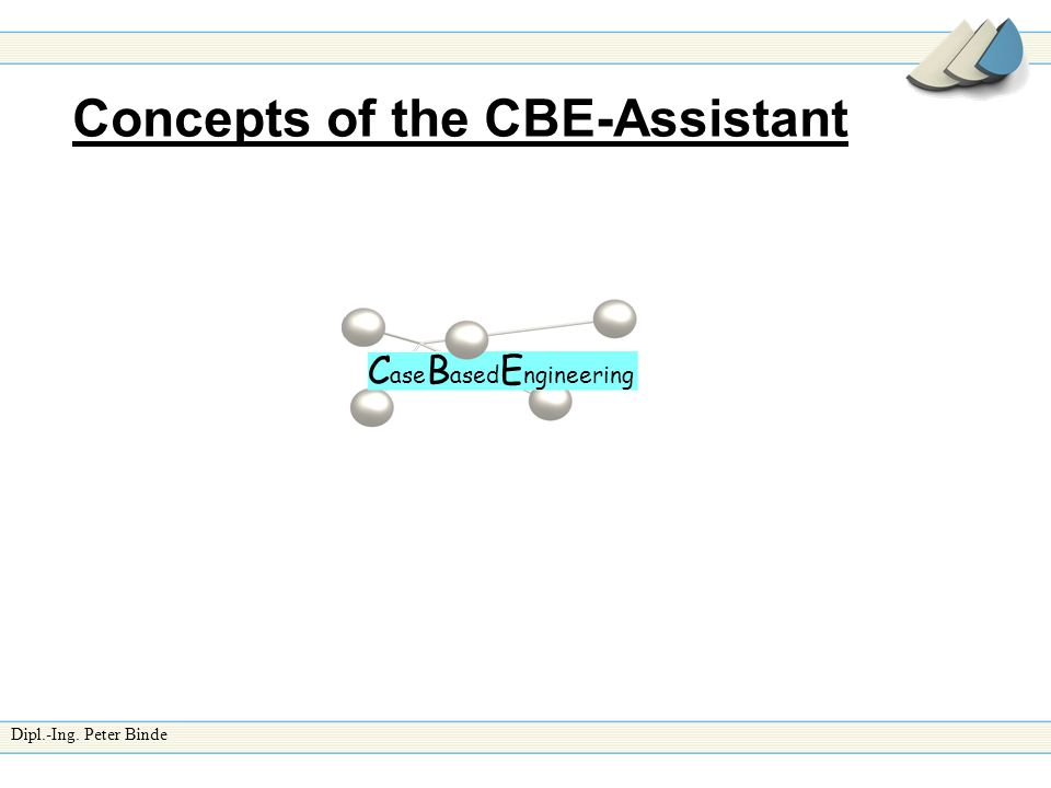 Dipl.-Ing. Peter Binde Concepts of the CBE-Assistant C ase B ased E ngineering