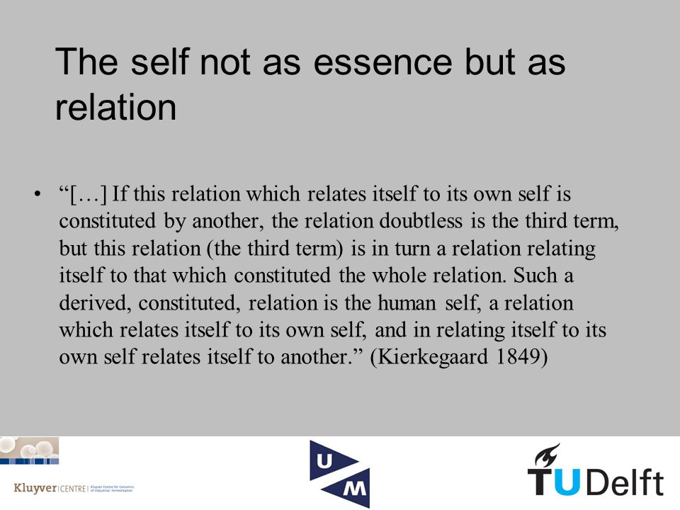 The self not as essence but as relation […] If this relation which relates itself to its own self is constituted by another, the relation doubtless is the third term, but this relation (the third term) is in turn a relation relating itself to that which constituted the whole relation.