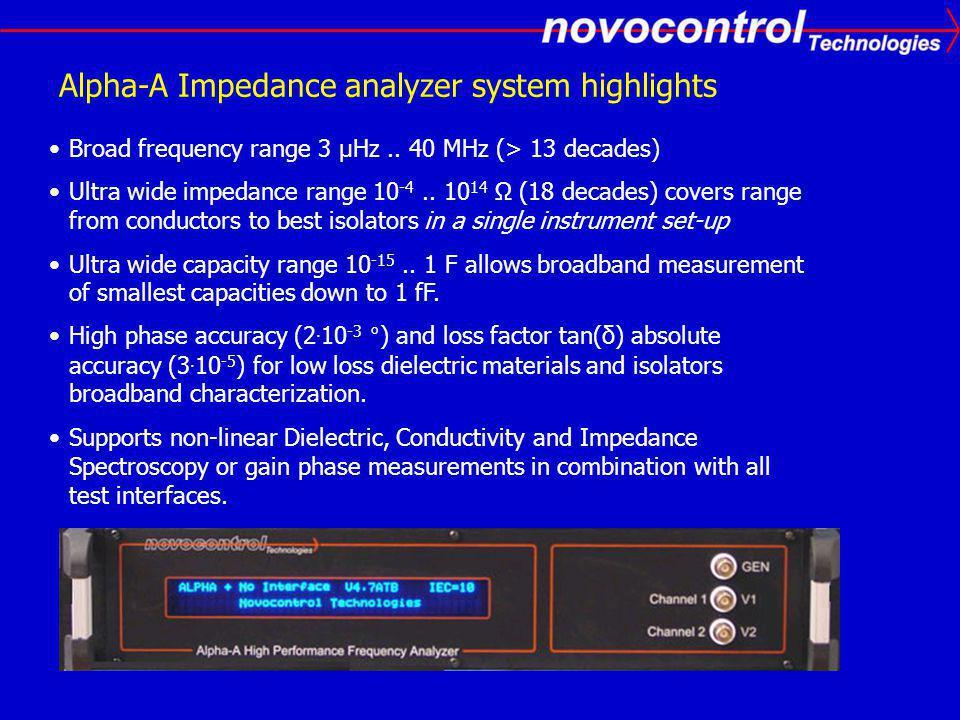 Alpha-A Impedance analyzer system highlights Broad frequency range 3 µHz..