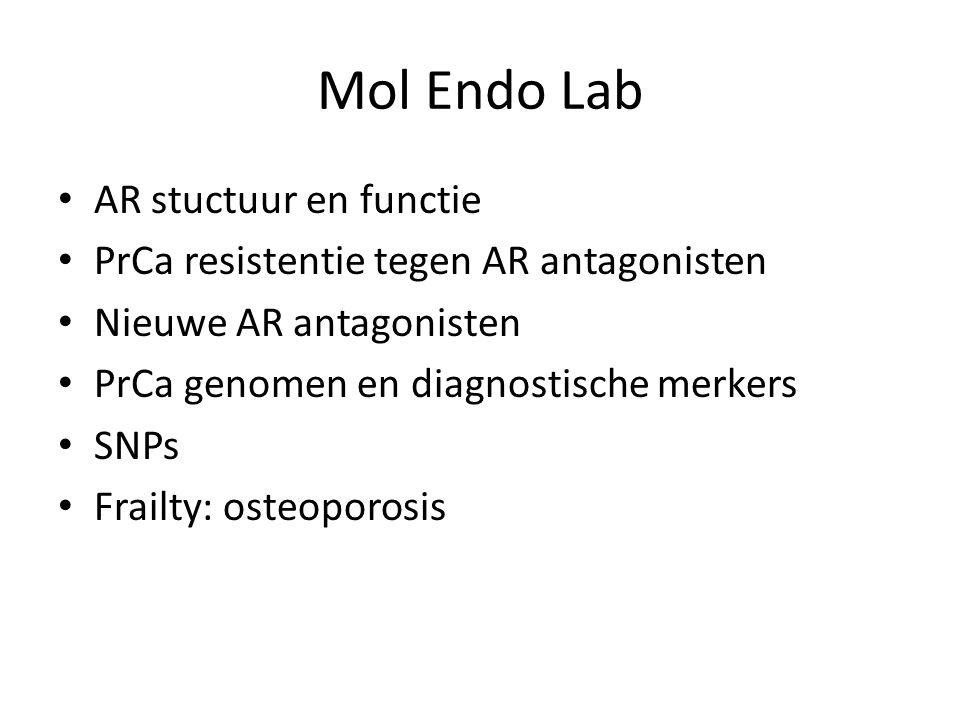 Mol Endo Lab AR stuctuur en functie PrCa resistentie tegen AR antagonisten Nieuwe AR antagonisten PrCa genomen en diagnostische merkers SNPs Frailty: osteoporosis