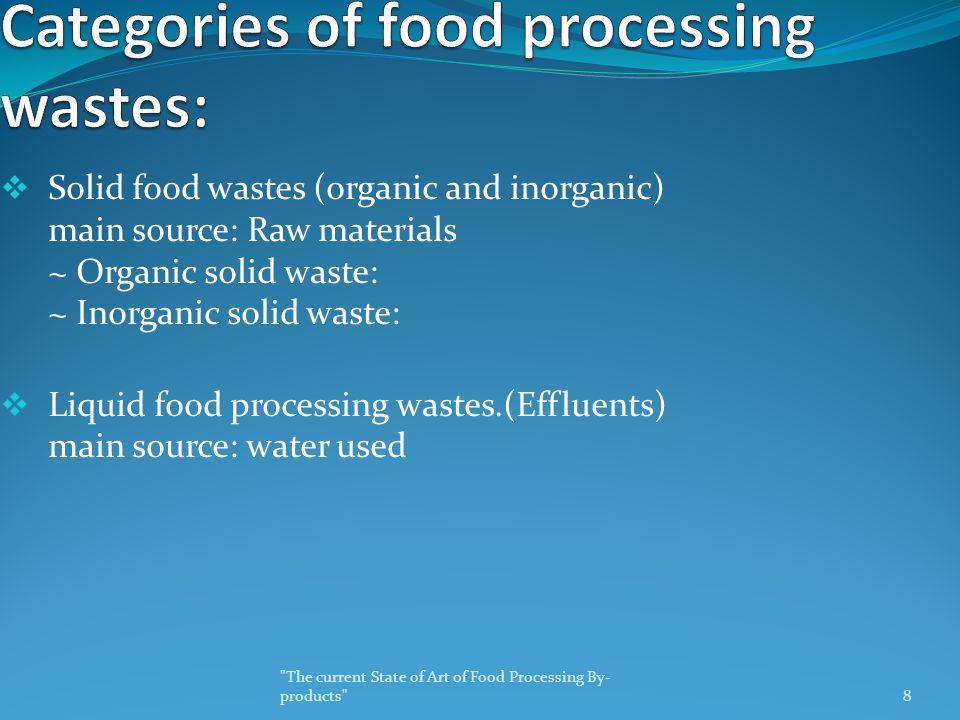  Solid food wastes (organic and inorganic) main source: Raw materials ~ Organic solid waste: ~ Inorganic solid waste:  Liquid food processing wastes