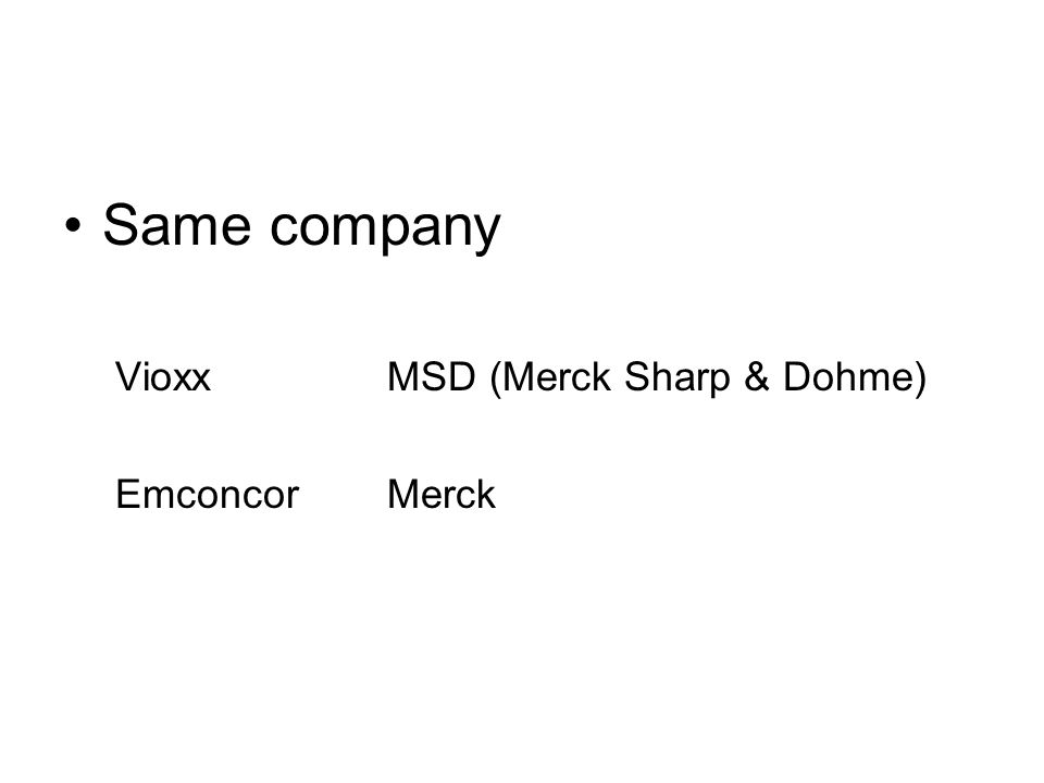 Same company Vioxx MSD (Merck Sharp & Dohme) Emconcor Merck