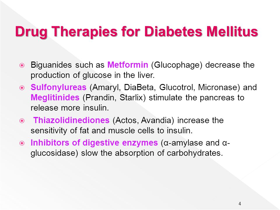 Drug Therapies for Diabetes Mellitus  Biguanides such as Metformin (Glucophage) decrease the production of glucose in the liver.