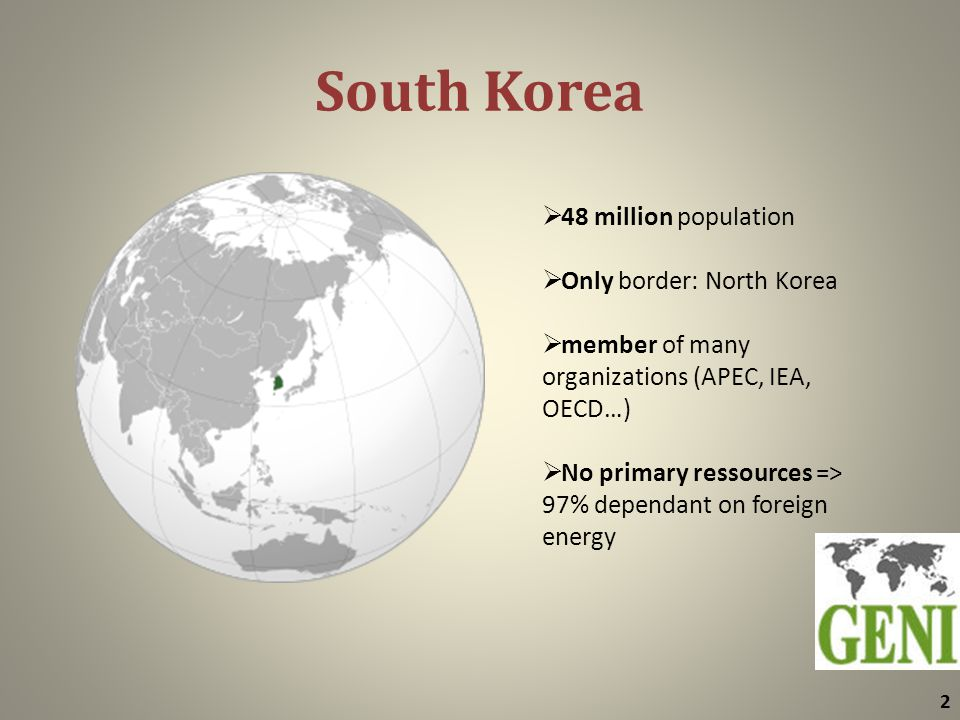 South Korea 2  48 million population  Only border: North Korea  member of many organizations (APEC, IEA, OECD…)  No primary ressources => 97% dependant on foreign energy