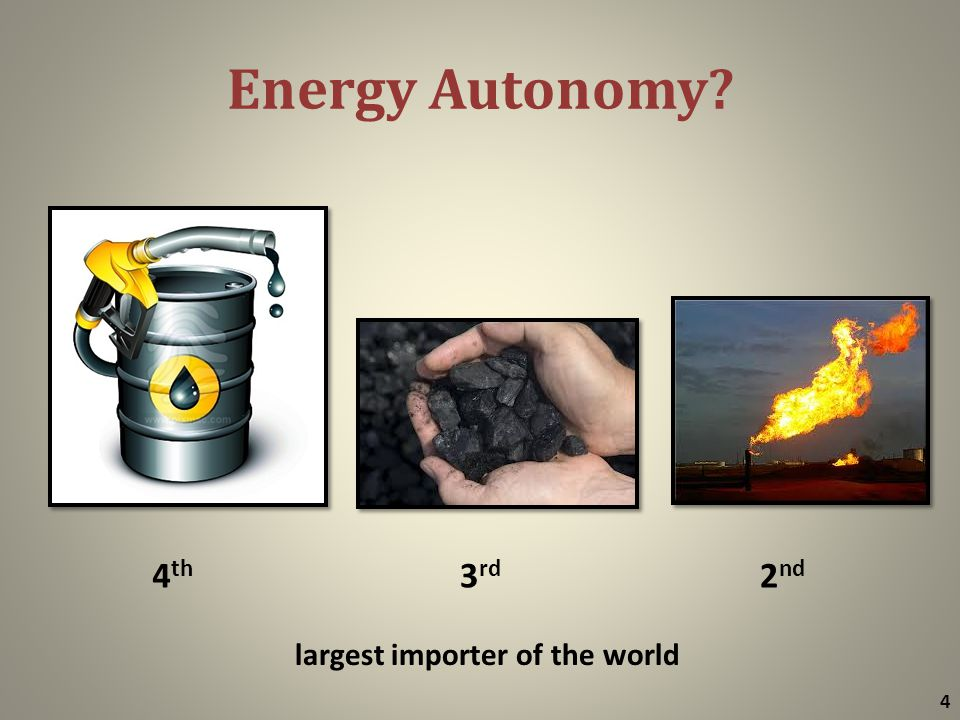 Energy Autonomy? 4 4 th 3 rd 2 nd largest importer of the world