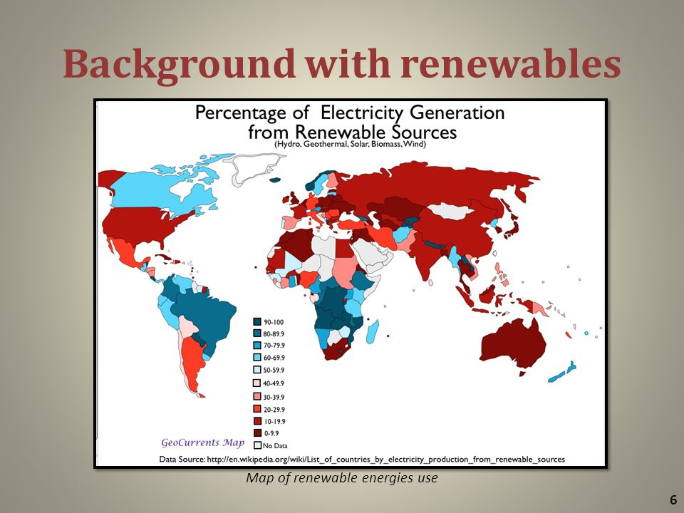 Background with renewables 6 Map of renewable energies use