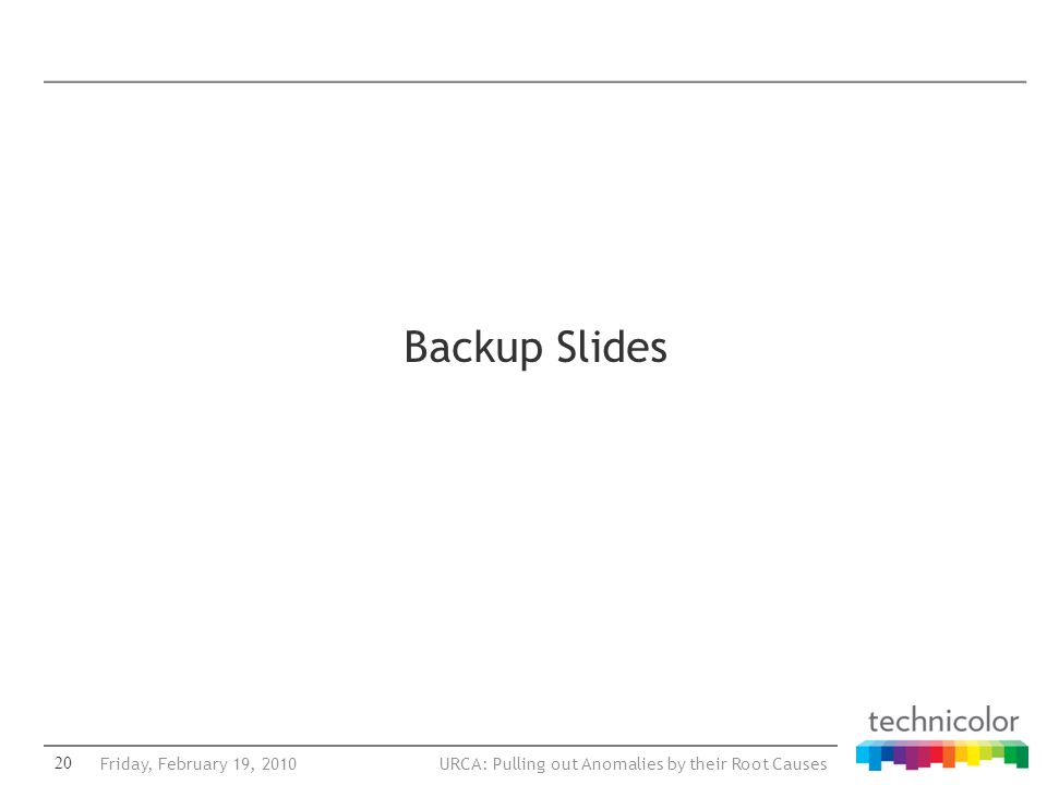 URCA: Pulling out Anomalies by their Root Causes Backup Slides 20Friday, February 19, 2010