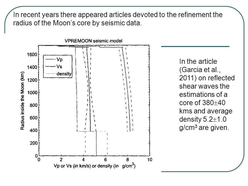In the article (Garcia et al., 2011) on reflected shear waves the estimations of a core of 380  40 kms and average density 5.2  1.0 g/cm 3 are given.