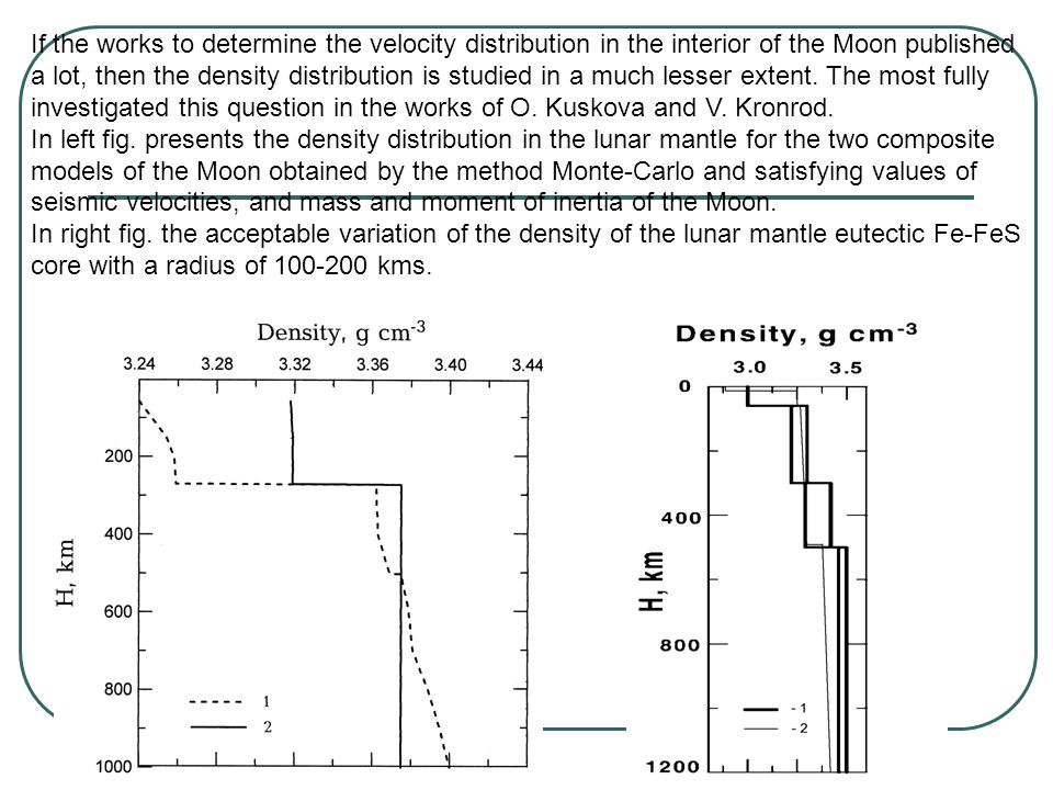 If the works to determine the velocity distribution in the interior of the Moon published a lot, then the density distribution is studied in a much lesser extent.