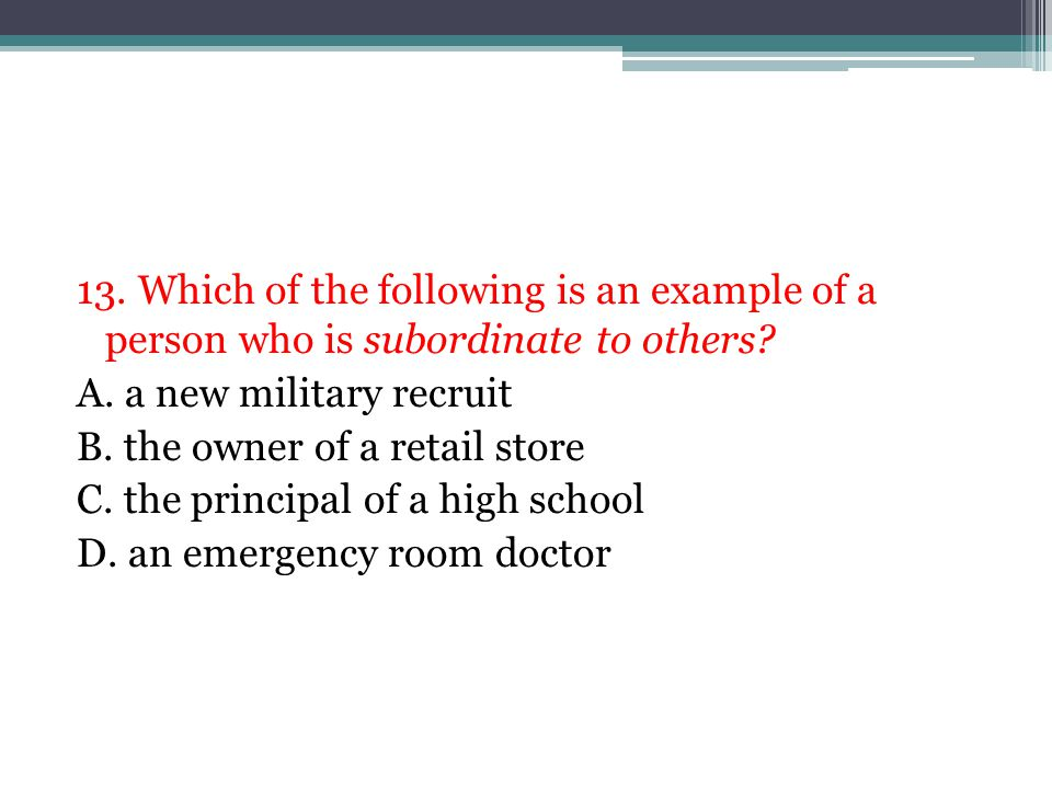 13.Which of the following is an example of a person who is subordinate to others.