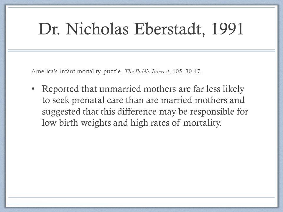 Dr.Nicholas Eberstadt, 1991 America's infant-mortality puzzle.