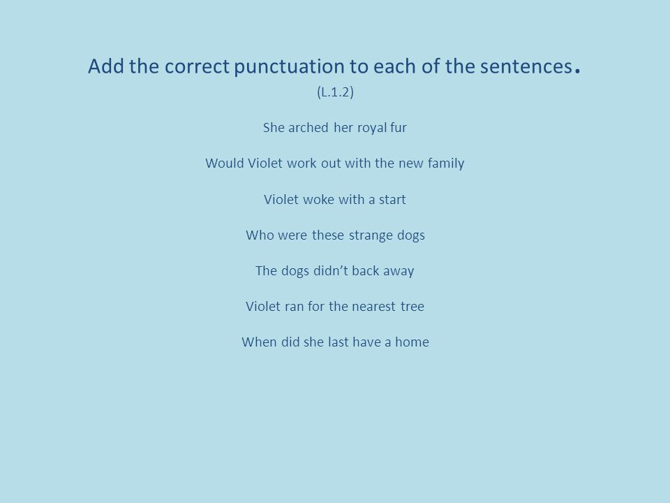 Add the correct punctuation to each of the sentences.