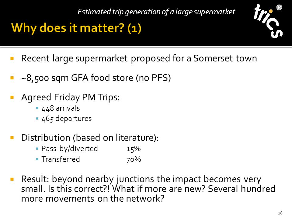  Recent large supermarket proposed for a Somerset town  ~8,500 sqm GFA food store (no PFS)  Agreed Friday PM Trips:  448 arrivals  465 departures