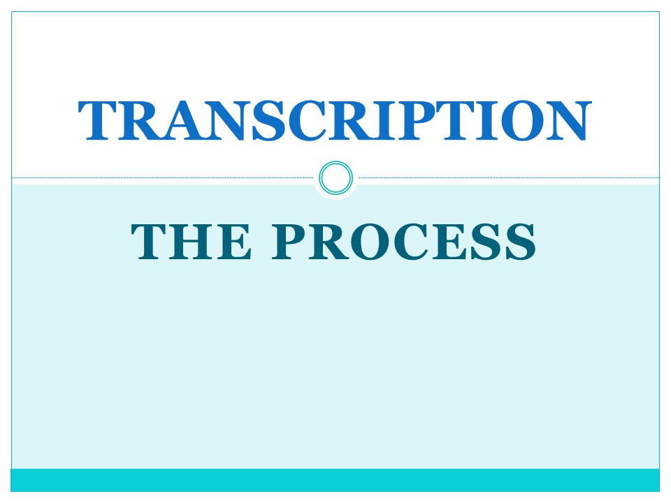 TRANSCRIPTION THE PROCESS