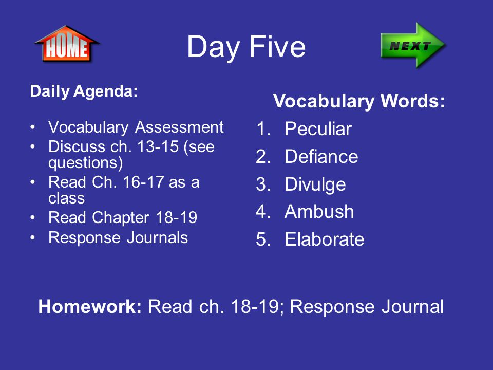 Day Five Daily Agenda: Vocabulary Assessment Discuss ch. 13-15 (see questions) Read Ch. 16-17 as a class Read Chapter 18-19 Response Journals Vocabula