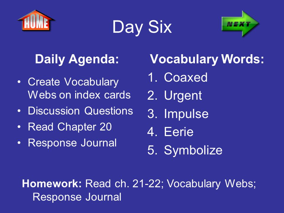 Day Six Daily Agenda: Create Vocabulary Webs on index cards Discussion Questions Read Chapter 20 Response Journal Vocabulary Words: 1.Coaxed 2.Urgent
