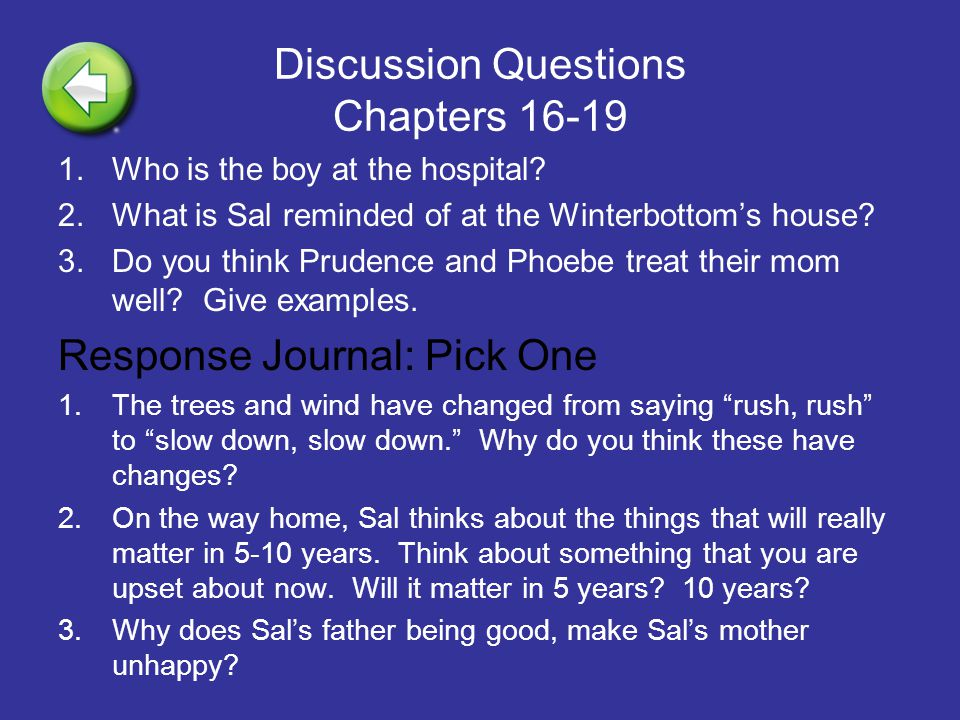 Discussion Questions Chapters 16-19 1.Who is the boy at the hospital? 2.What is Sal reminded of at the Winterbottom's house? 3.Do you think Prudence a