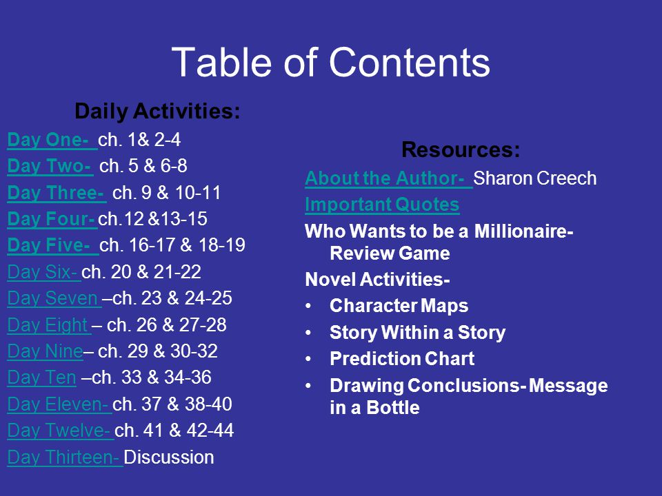 Table of Contents Daily Activities: Day One- Day One- ch. 1& 2-4 Day Two- Day Two- ch. 5 & 6-8 Day Three- Day Three- ch. 9 & 10-11 Day Four- Day Four-