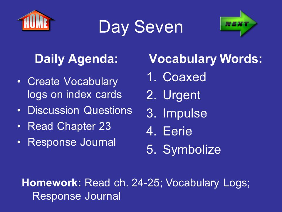 Day Seven Daily Agenda: Create Vocabulary logs on index cards Discussion Questions Read Chapter 23 Response Journal Vocabulary Words: 1.Coaxed 2.Urgen