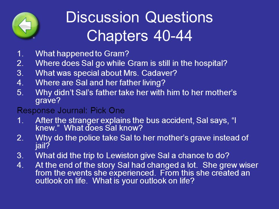 Discussion Questions Chapters 40-44 1.What happened to Gram? 2.Where does Sal go while Gram is still in the hospital? 3.What was special about Mrs. Ca