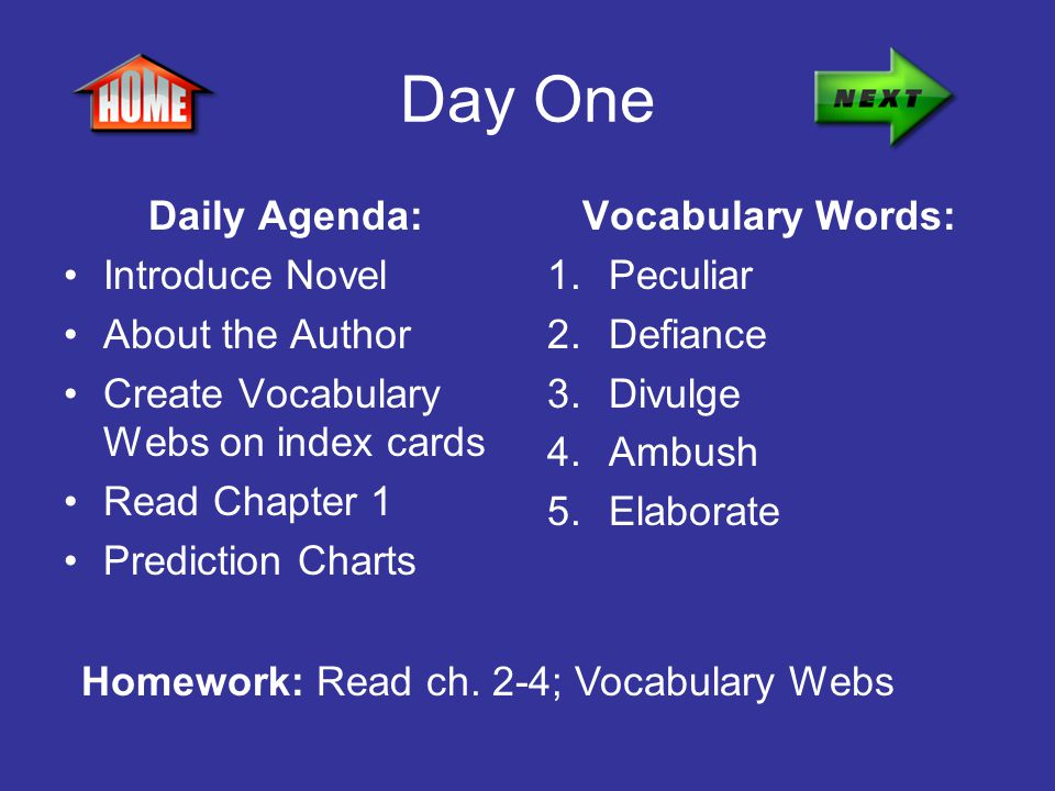 Day One Daily Agenda: Introduce Novel About the Author Create Vocabulary Webs on index cards Read Chapter 1 Prediction Charts Vocabulary Words: 1.Pecu