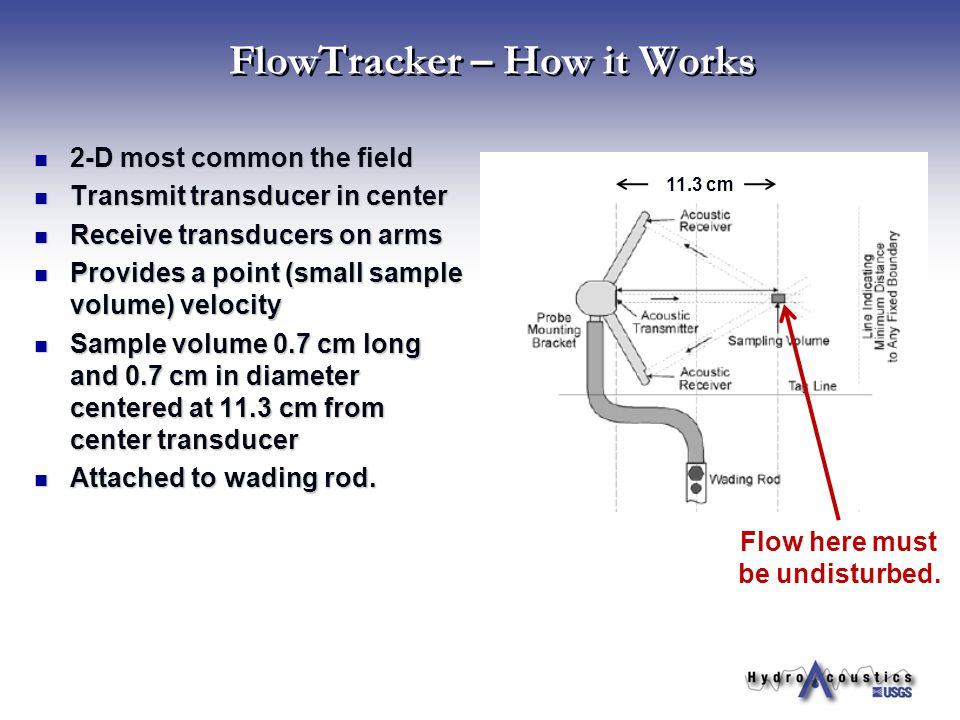 FlowTracker – How it Works 2-D most common the field 2-D most common the field Transmit transducer in center Transmit transducer in center Receive tra