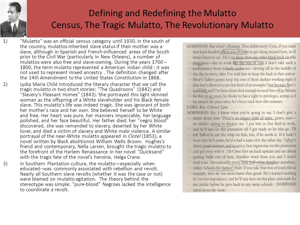 Defining and Redefining the Mulatto Census, The Tragic Mulatto, The Revolutionary Mulatto 1) Mulatto was an official census category until 1930.
