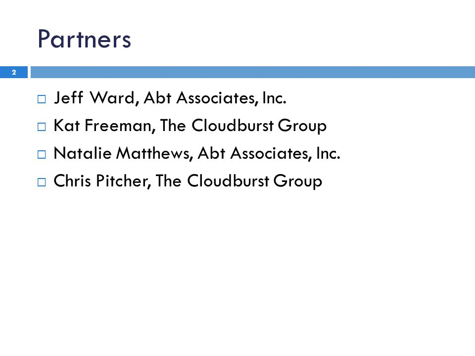 Partners 2  Jeff Ward, Abt Associates, Inc.