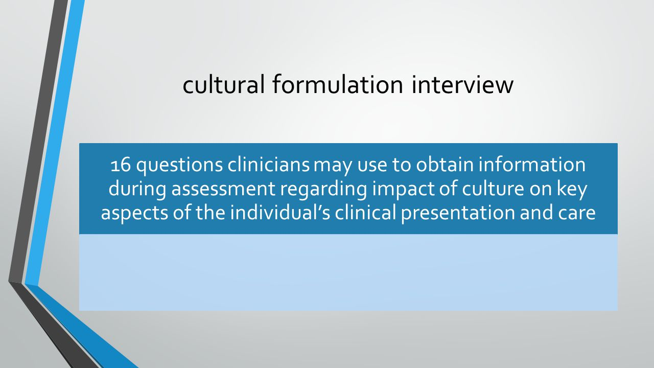 cultural formulation interview 16 questions clinicians may use to obtain information during assessment regarding impact of culture on key aspects of the individual's clinical presentation and care