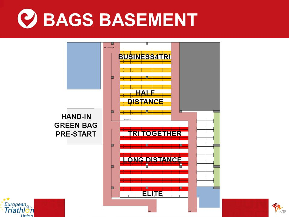 BAGS BASEMENT ELITE LONG DISTANCE TRI TOGETHER HALF DISTANCE BUSINESS4TRI HAND-IN GREEN BAG PRE-START