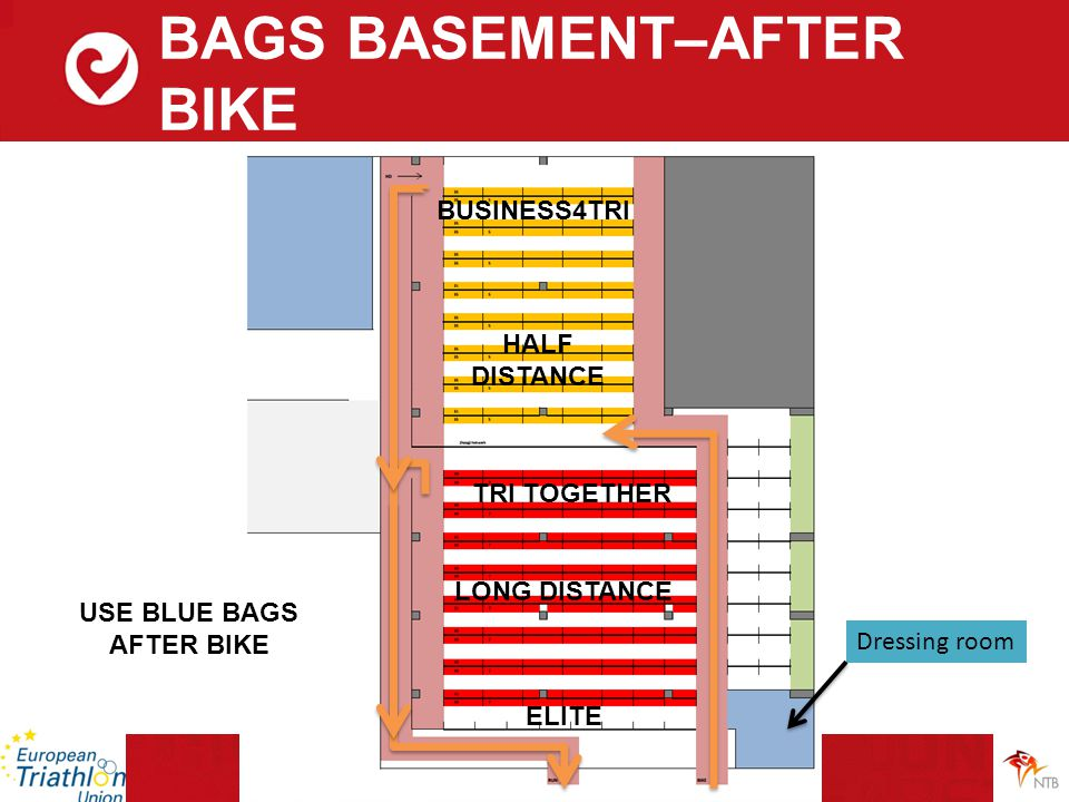 BAGS BASEMENT–AFTER BIKE ELITE LONG DISTANCE TRI TOGETHER HALF DISTANCE BUSINESS4TRI USE BLUE BAGS AFTER BIKE Dressing room