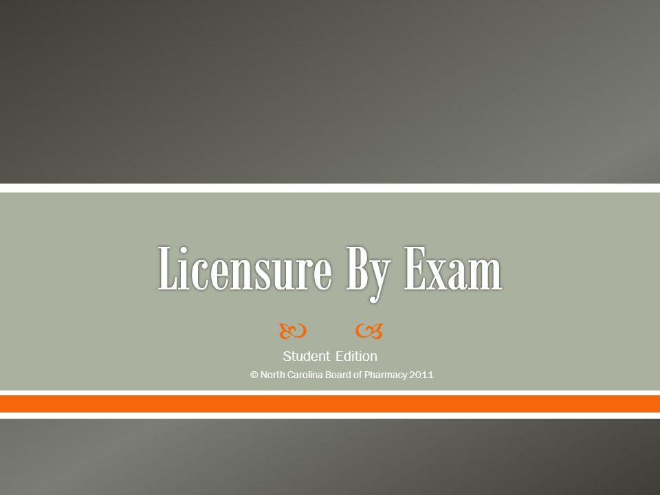  Student Edition © North Carolina Board of Pharmacy 2011