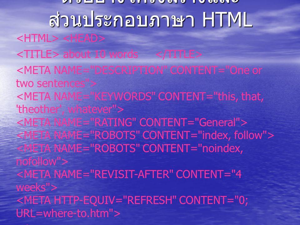 ตัวอย่างโครงสร้างและ ส่วนประกอบภาษา HTML about 10 words BACKGROUND= name.gif BGCOLOR= #0000FF TEXT= #000000 LINK= #0000FF VLINK= #FF00FF ALINK= #FF0000
