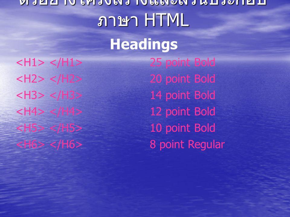 Headings 25 point Bold 20 point Bold 14 point Bold 12 point Bold 10 point Bold 8 point Regular ตัวอย่างโครงสร้างและส่วนประกอบ ภาษา HTML
