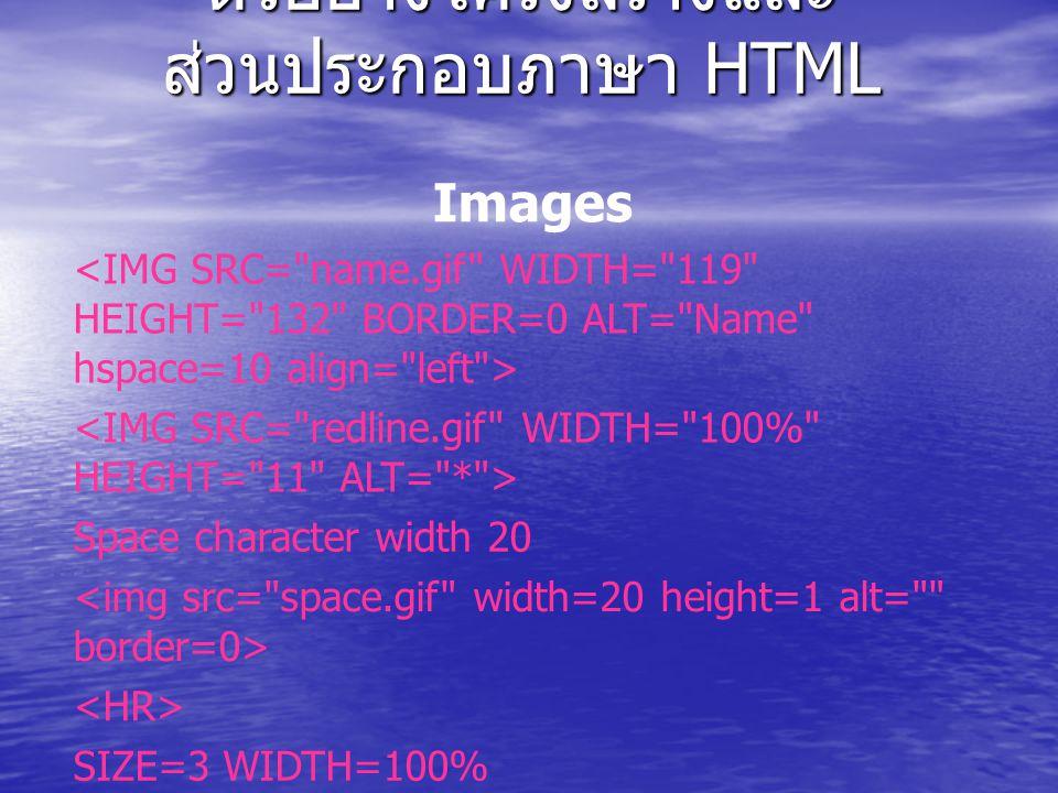 ตัวอย่างโครงสร้างและ ส่วนประกอบภาษา HTML Links A link to Name Page DIV Paragraph Formating Text to be formatted