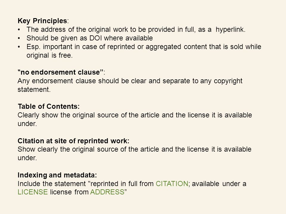 Key Principles: The address of the original work to be provided in full, as a hyperlink.