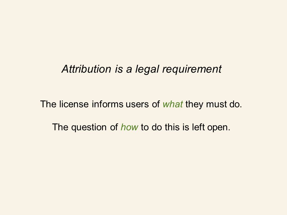 Attribution is a legal requirement The license informs users of what they must do.