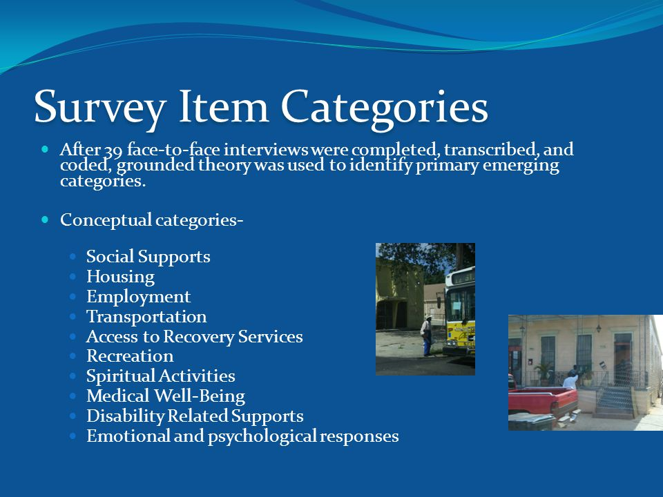 Survey Item Categories After 39 face-to-face interviews were completed, transcribed, and coded, grounded theory was used to identify primary emerging