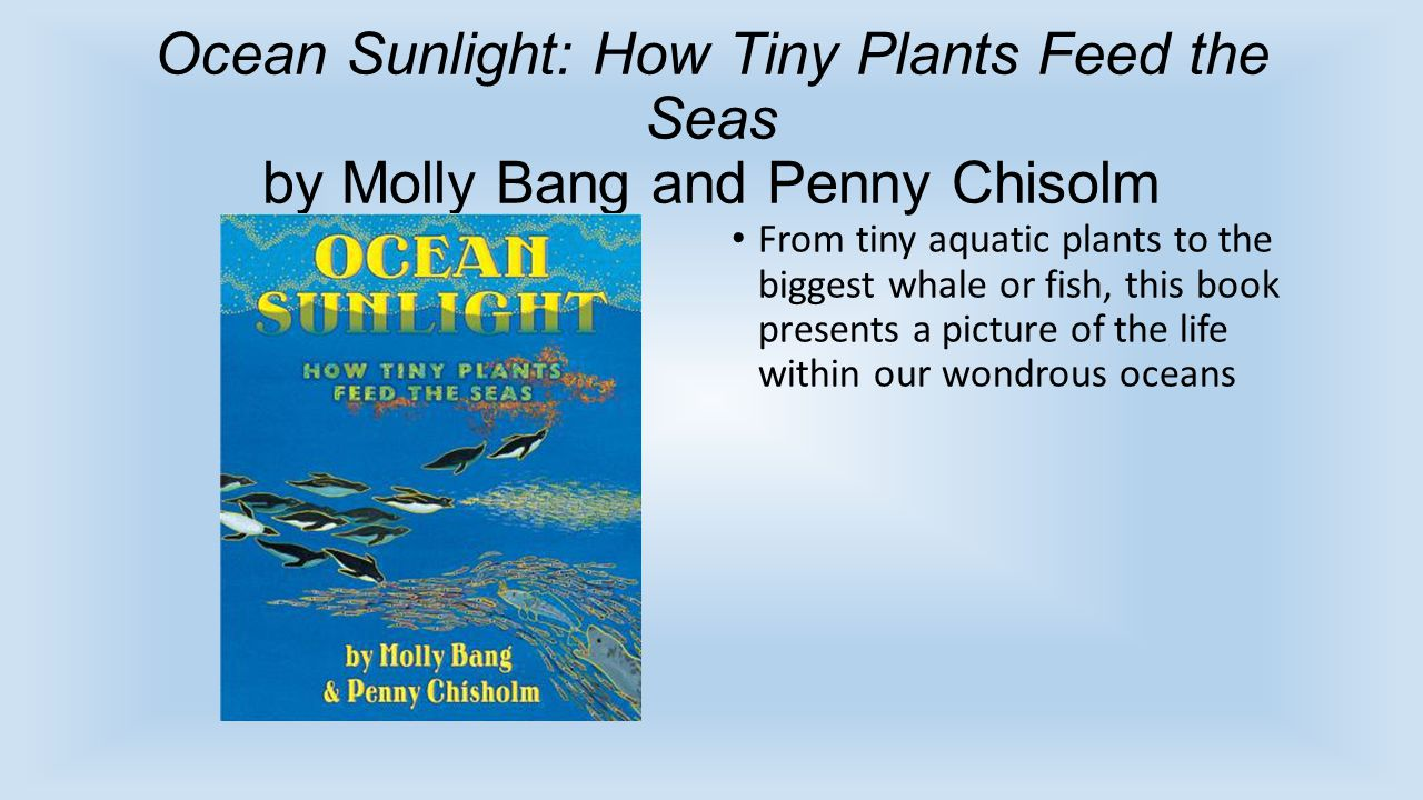 Ocean Sunlight: How Tiny Plants Feed the Seas by Molly Bang and Penny Chisolm From tiny aquatic plants to the biggest whale or fish, this book presents a picture of the life within our wondrous oceans