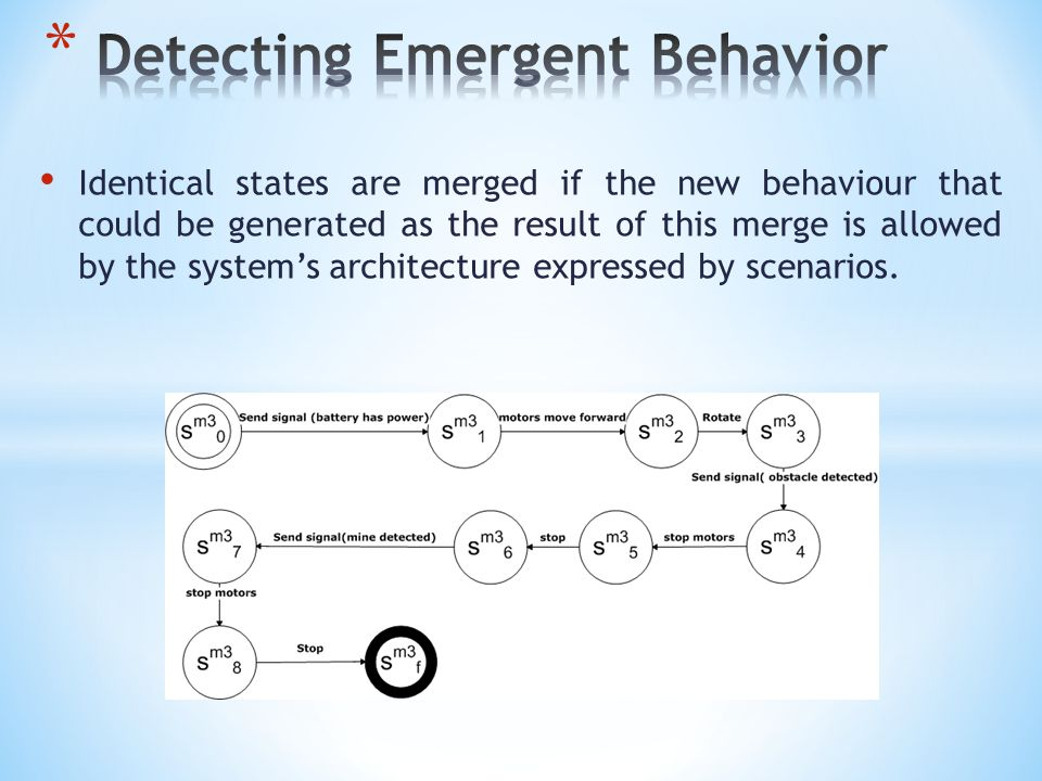 Identical states are merged if the new behaviour that could be generated as the result of this merge is allowed by the system's architecture expressed