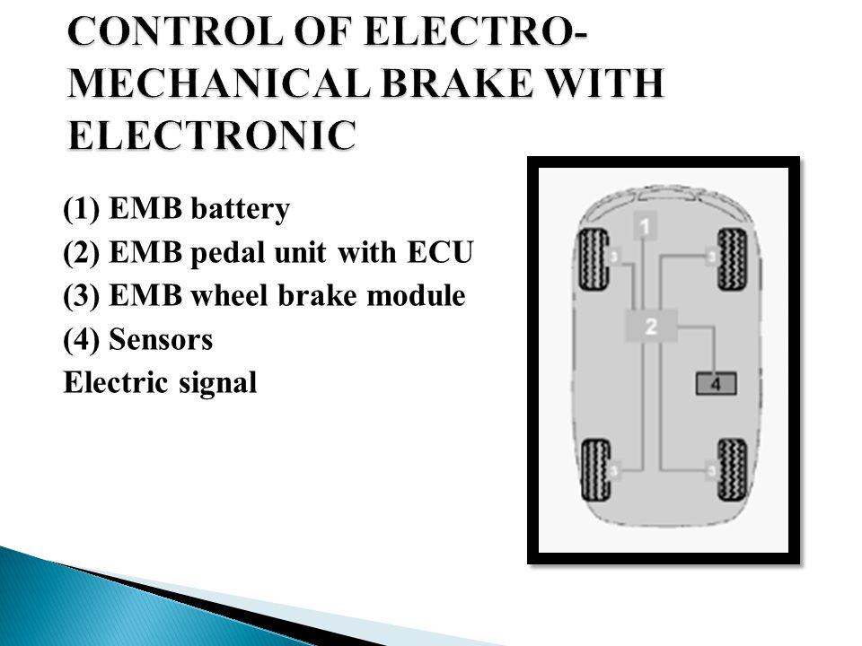(1) EMB battery (2) EMB pedal unit with ECU (3) EMB wheel brake module (4) Sensors Electric signal