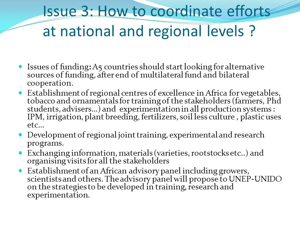 Issue 3: How to coordinate efforts at national and regional levels .